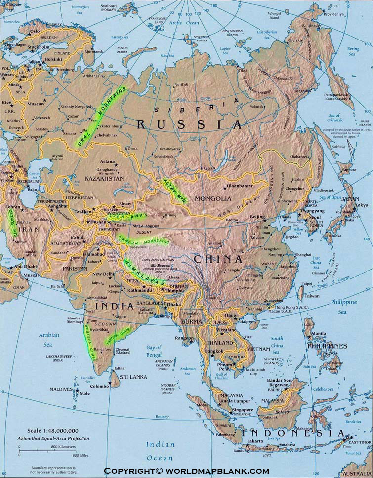 Map of Asia Mountains