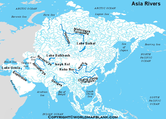 Map of Asia Rivers Labeled
