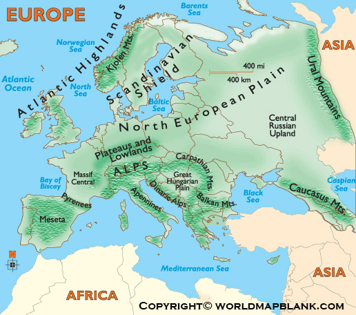 Map of Europe Mountains