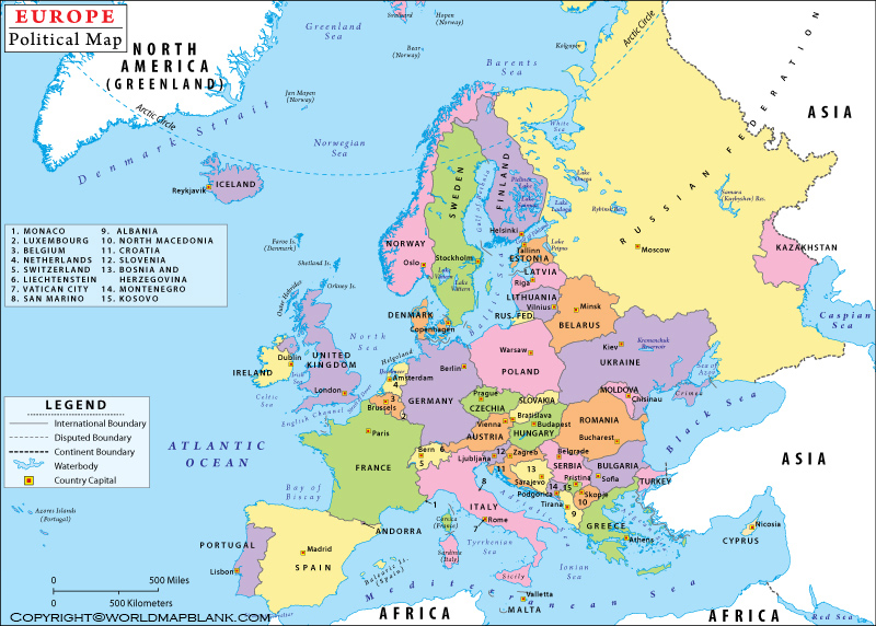 Europe Political Map Labeled