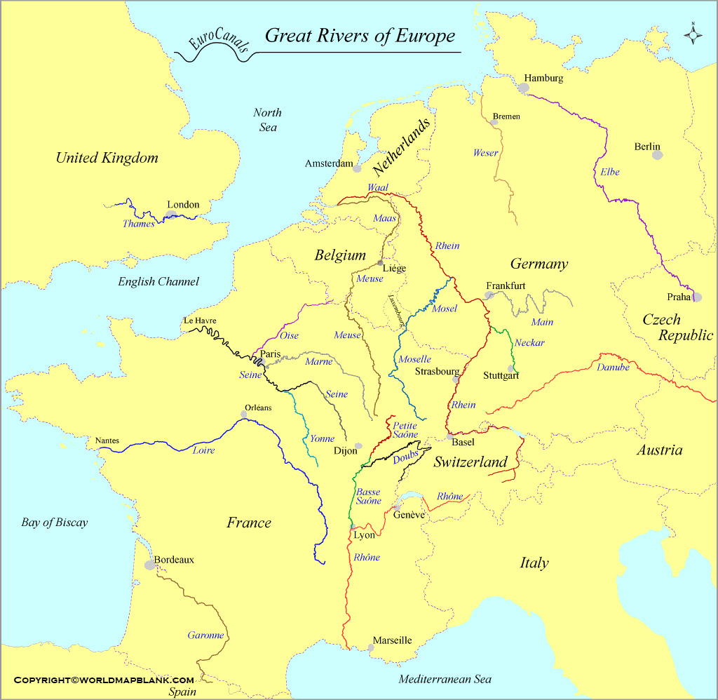 Europe Rivers Map