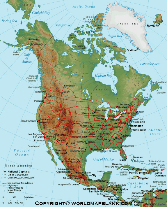 North America Mountains Map