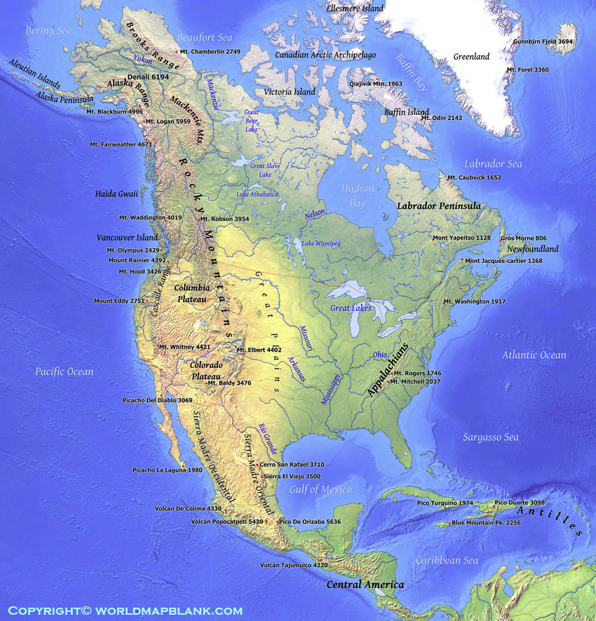 Map of North America Mountains