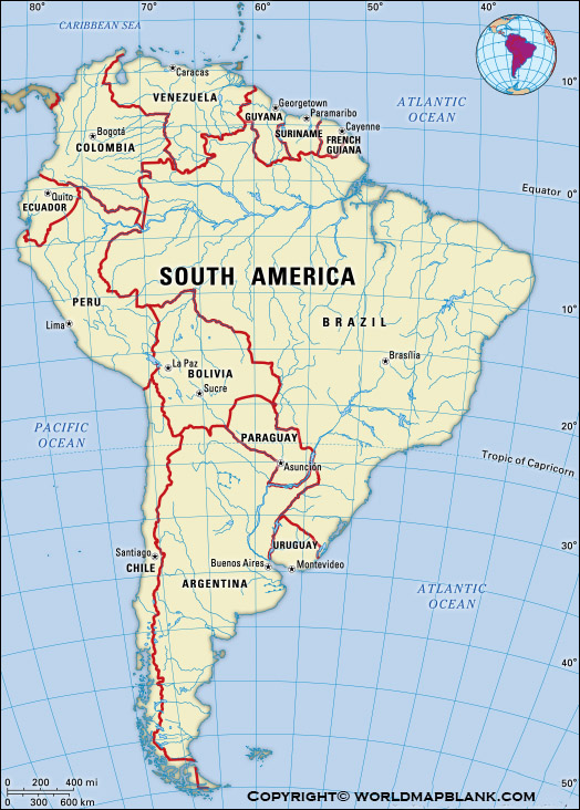 South America Map with Mountains