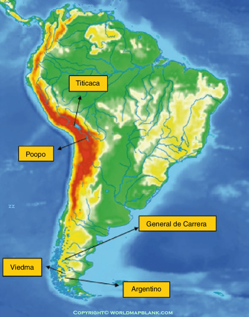 South America Mountains Map