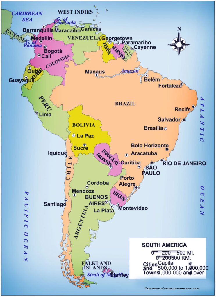 Map of South America Political Labeled
