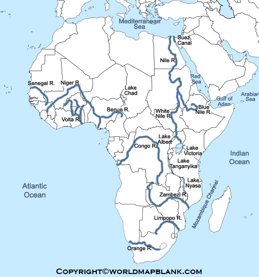 Map of Africa Rivers Labeled