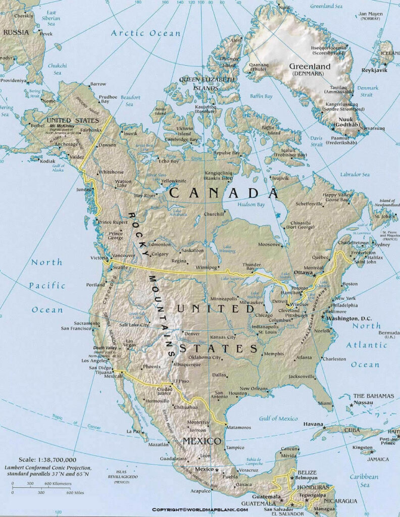Map of North America Physical Labeled