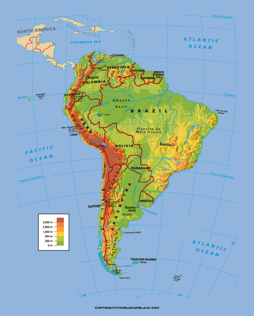 Map of South America Physical