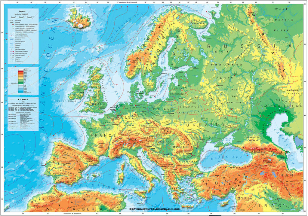 Printable Europe Physical Map