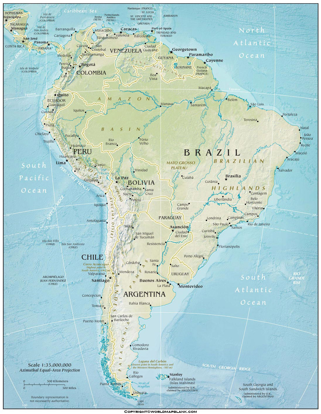 Printable South America Physical Map