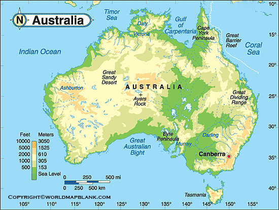 Map of Australia Physical Labeled