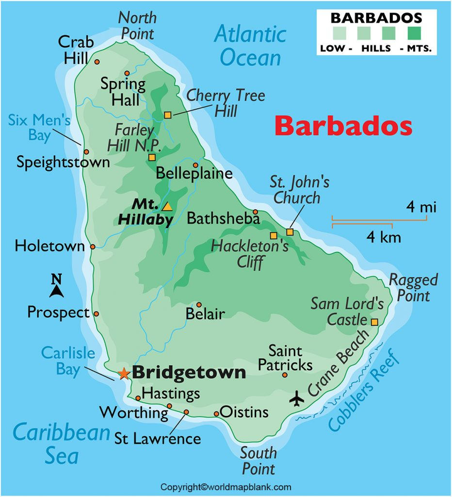 Labeled Barbados Map with Capital