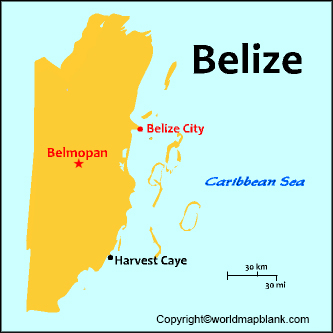 Labeled Belize Map with Capital
