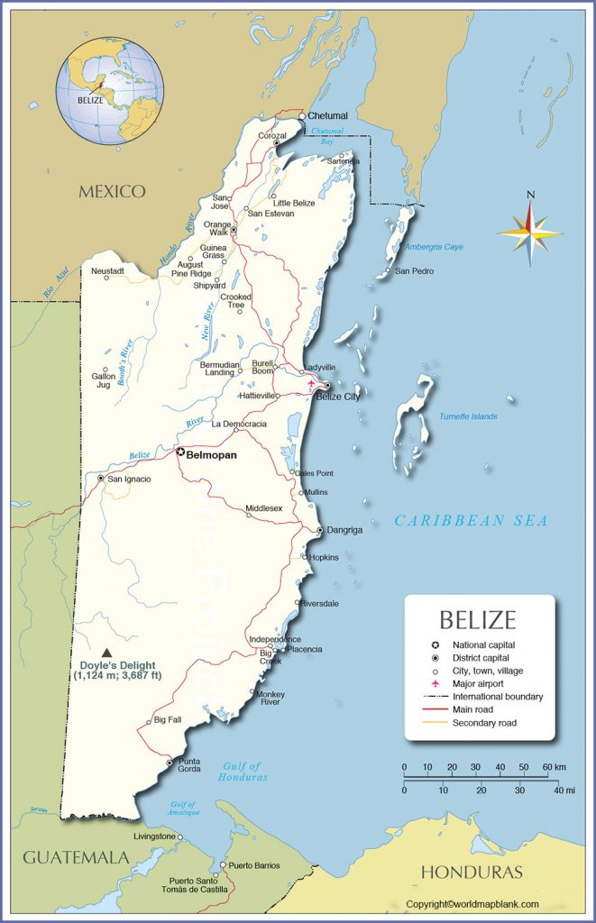 Labeled Map of Belize with Cities