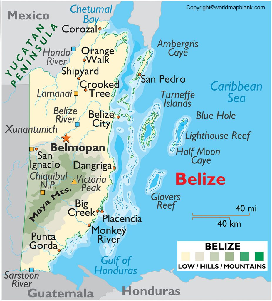 Labeled Map of Belize with States