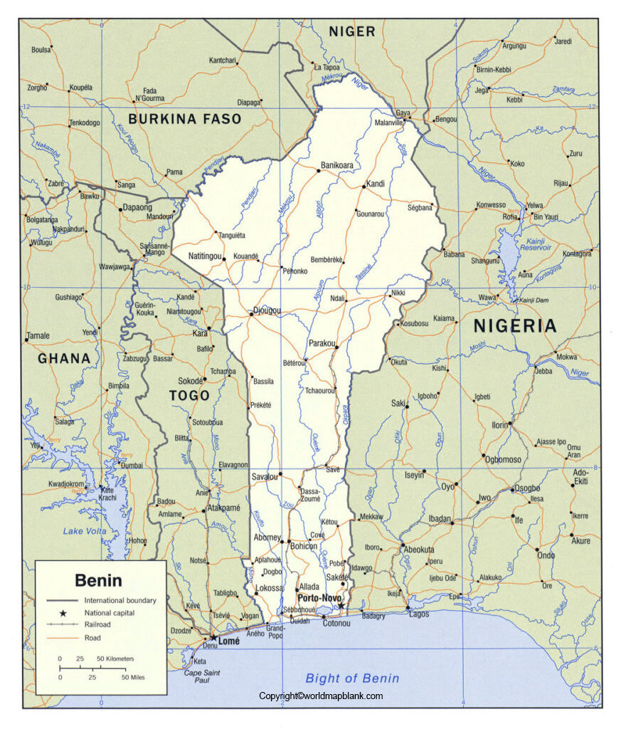 Labeled Map of Benin